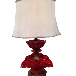 Ruby Red Glass 2-Tiered Lamp