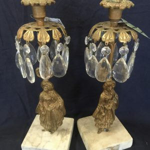 Period Brass and Crystal Candlesticks