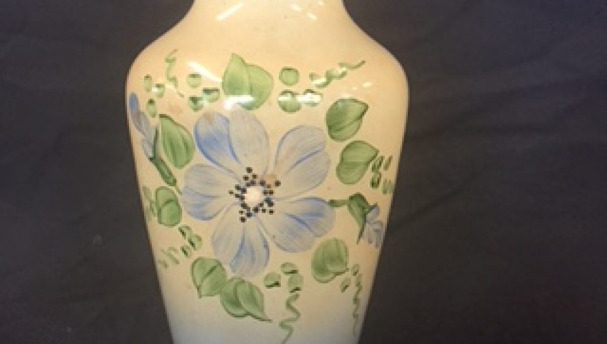 Blue and Cream Small Floral Vase