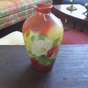 Colorful Vase with Pink and White Floral Design