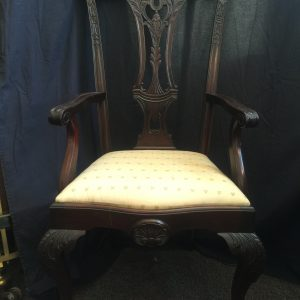 Mahogany Chairs with Palm Upholstery