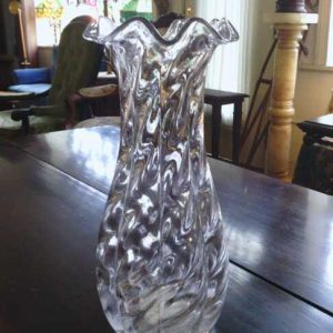Glass Vase with Ruffled Brim