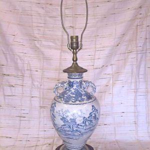 Blue & Cream Porcelain Lamp