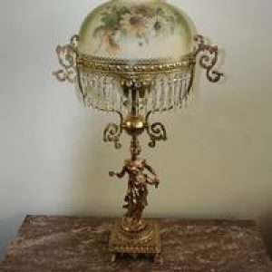 Brass and Bronze Oil Lamp with Prisms