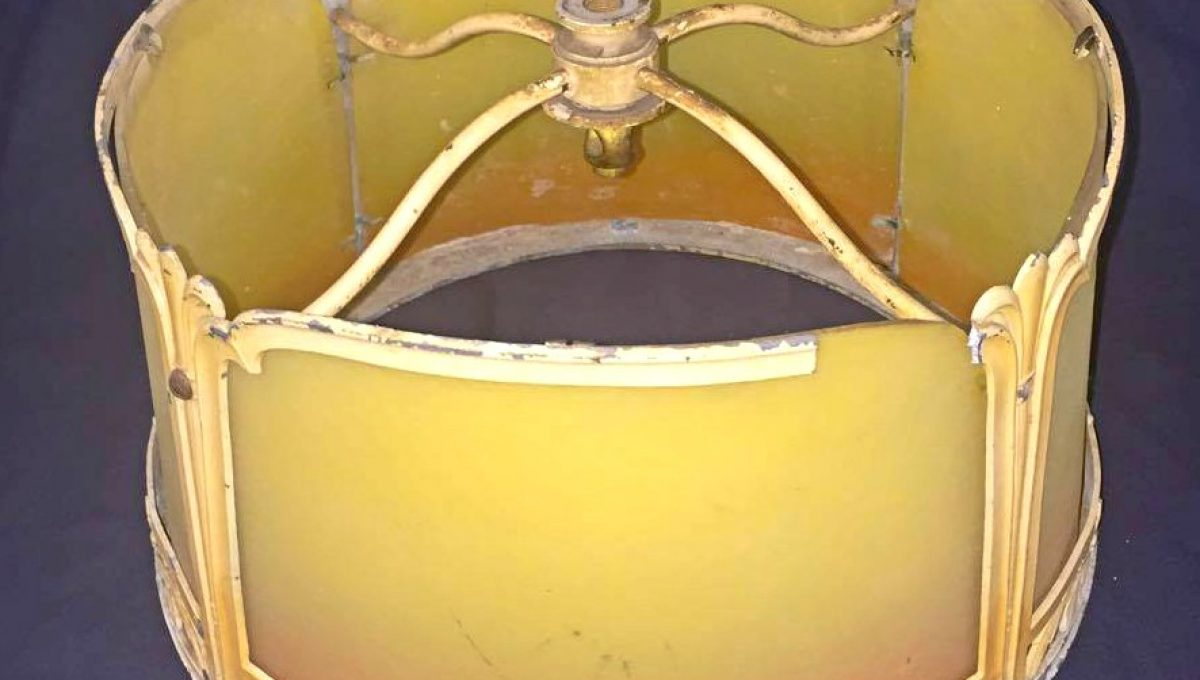 Yellow Glass Shade with Metal Inlay