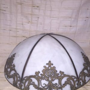 Frosted Glass Dome Shade with Metal Overlay