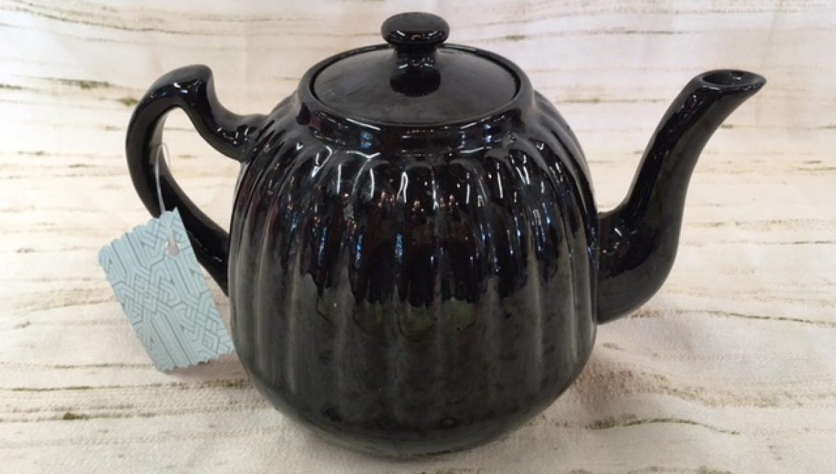 Black Glazed English Teapot