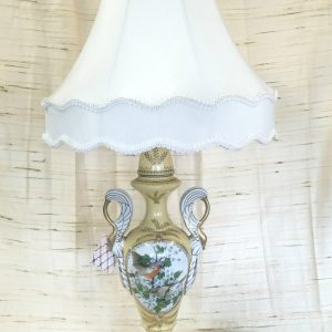 Painted Brass Lamp with Swan Handles
