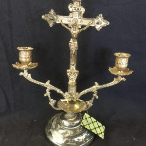Silver Plated Standing Crucifix Candelabra