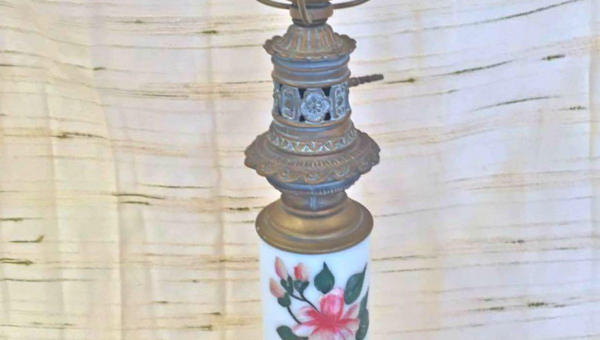 19th Century Converted Hand Painted Oil Lamp