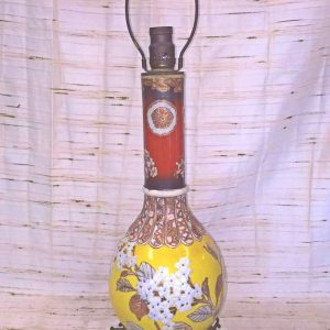 Oriental Hand Painted Brass Lamp