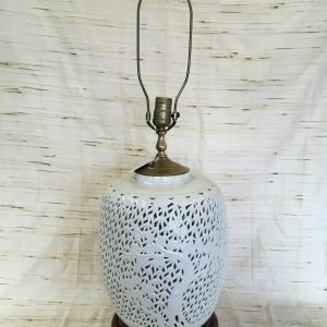 Ceramic White Wickered Lamp