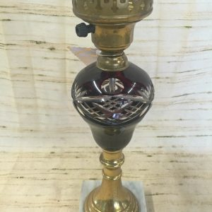 Wine Colored Converted Oil Lamps