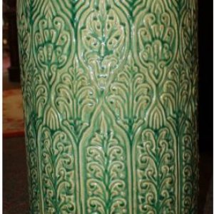 Large Green Pottery/Umbrella Stand