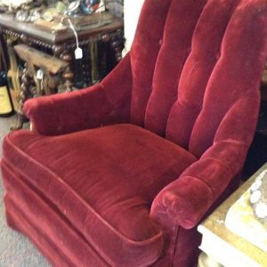 Red Plush Skirt Chair