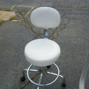 White Leather & Chrome Office Chair