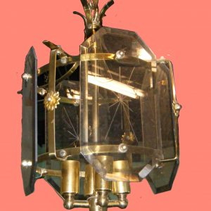 4-Candle Brass Glass Pane Chandelier