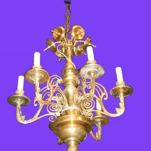 19th Century 6-Light Bronze Chandelier