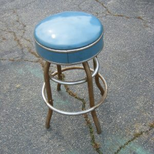 Blue Vinyl Chrome Stool
