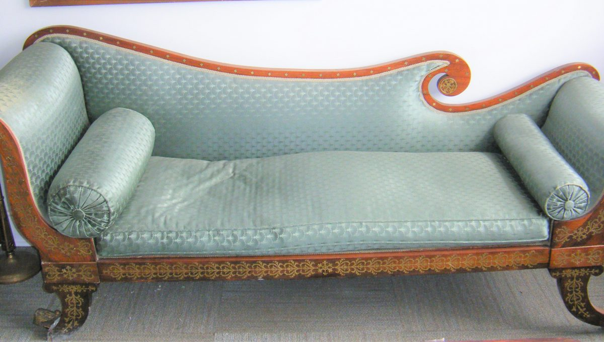 Early Green Silk Chaise Lounge