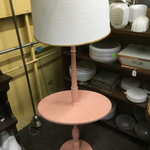 Pink Wooden Table Floor Lamp