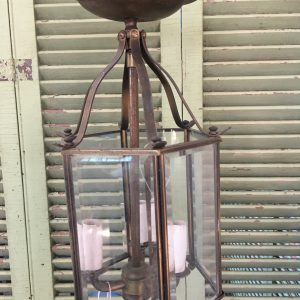 3-Light Brass Beveled Glass Ceiling Fixture