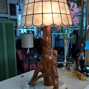 Cypress Knee Table Lamp with Mica Shade