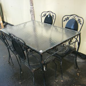 Cast Iron Glass Top Table Set
