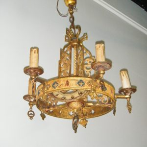 Gothic Revival Hammered Solid Brass Chandelier