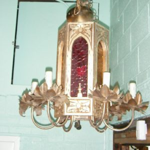 7-Light Brass Cathedral Chandelier