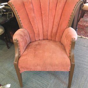 Antique Velvet Fanback Armchair