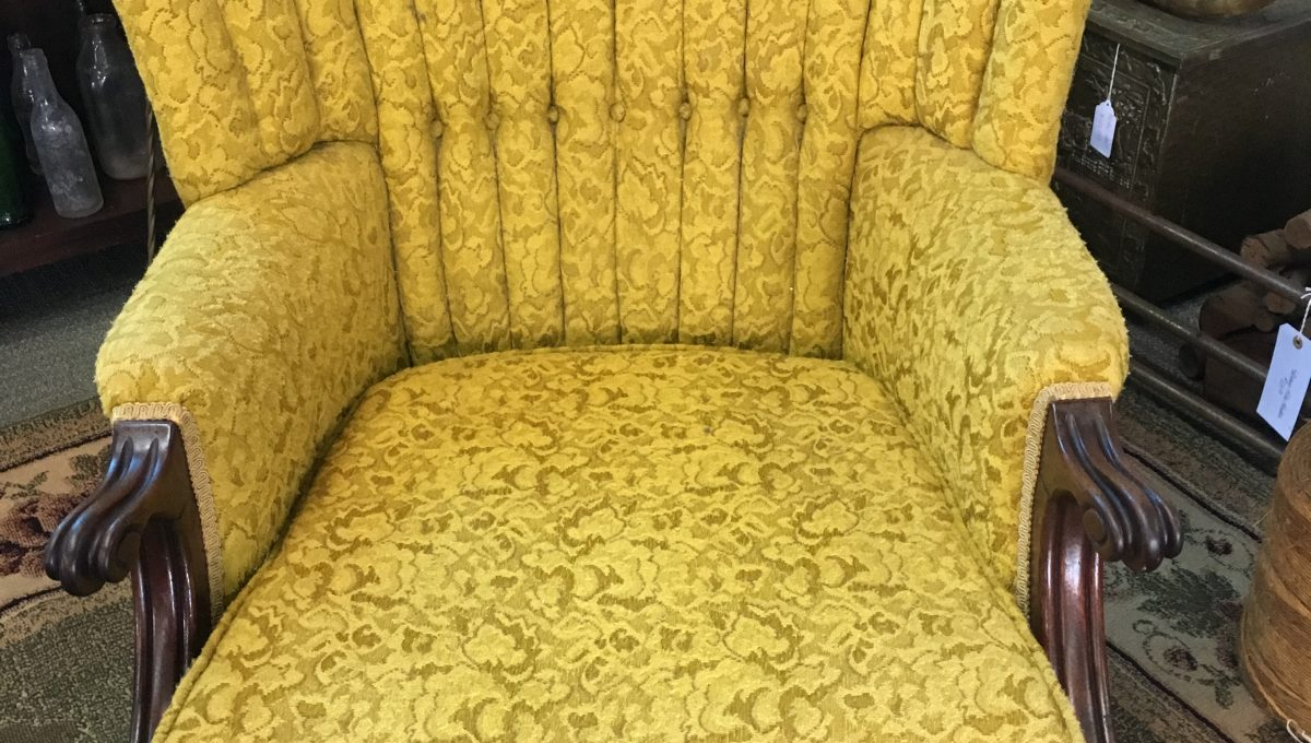 Mustard Fabric Fan Back Armchair