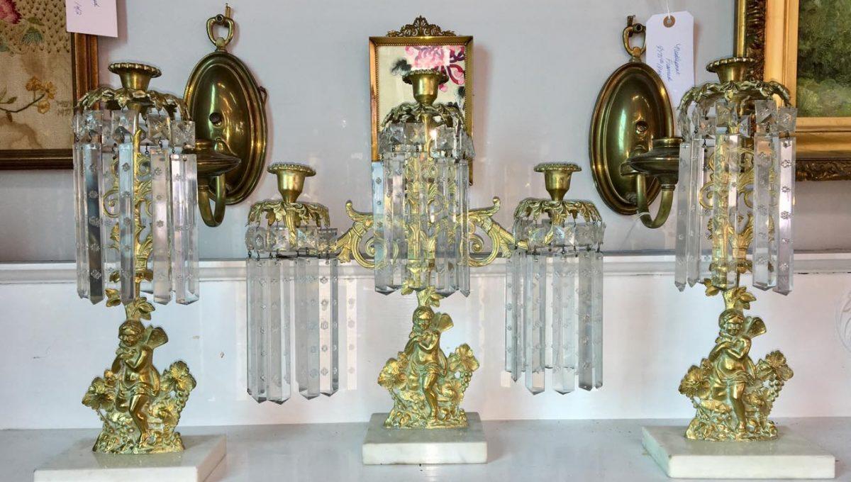 Antique 3-pc Mantle Candleholder Set