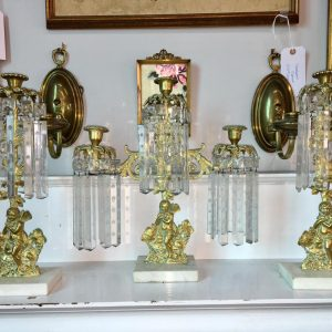 Antique 3-pc Mantle Candleholder Set