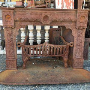 19th Century Ornate Cast Iron Fireplace