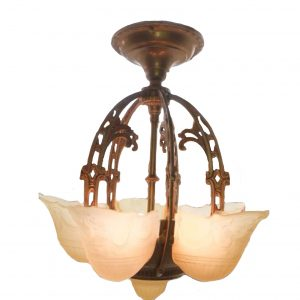 Brass Art Deco 5-Light Slip Shade Chandelier
