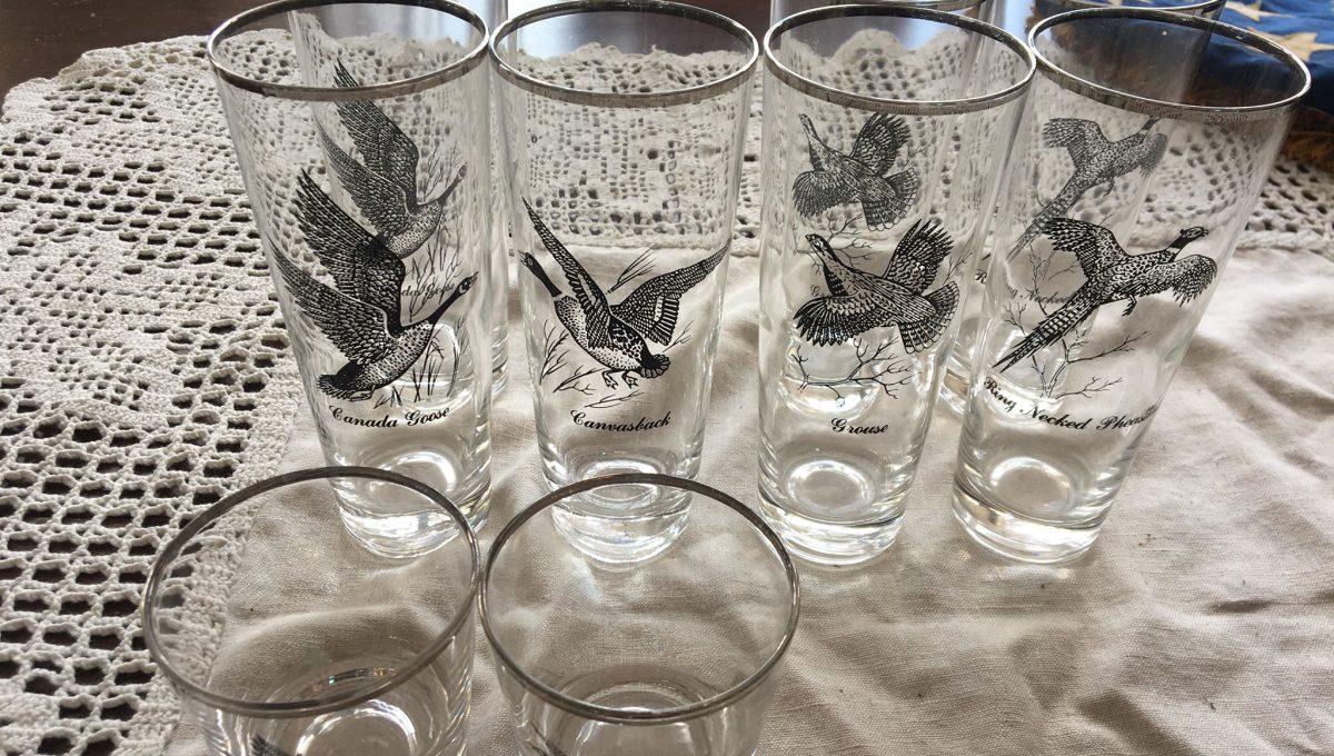 Vintage Silver-Rimmed Hunting Bird Glasses