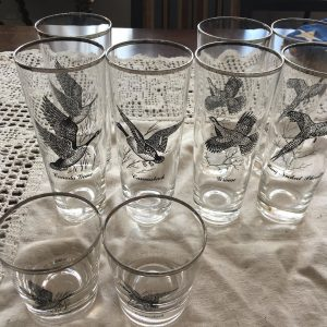 Vintage Silver-Rimmed Hunting Bird Glasses