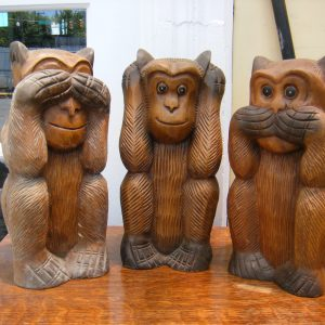 See No Evil, Hear No Evil, Speak No Evil Wooden Monkeys