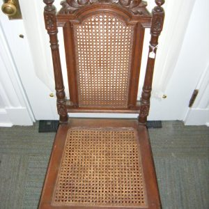 Antique Carved Side Chair with Caning